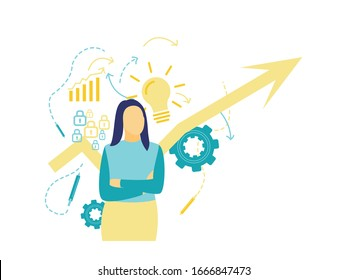 Flat vector illustration, front view of a business woman who is thinking about business progress and new innovations that will be developed in blue and yellow. With a yellow arrow background.