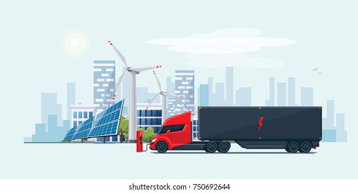 Flat vector illustration of an futuristic white electric semi truck with trailer in modern design charging at the charger station in front of the solar panels and wind turbines and city skyline.