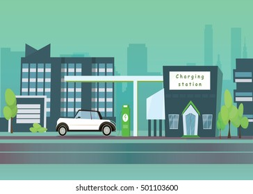 Flat vector illustration of a green electric car charging at the charger station in the city. Electromobility e-motion concept.