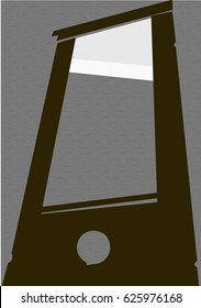 A flat vector illustration of a guillotine.