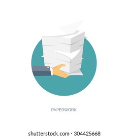 Flat vector illustration with hand and paper pile. Business document. Paperwork.