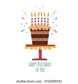 Flat vector illustration of happy birthday cake. Birthday cake with candles and confetti. Isolated on white background. Birthday baked cakes. Anniversary desserts with candles on white background.