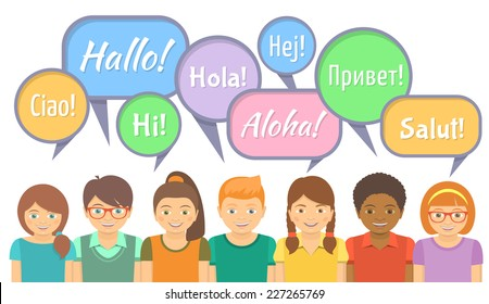 Flat vector Illustration of happy smiling kids of different ethnicity that say hello in different languages with speech bubbles on white.Language School or international communication concept