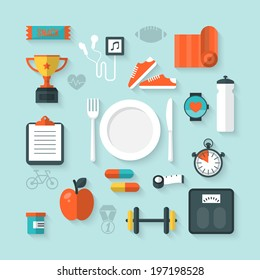 Flat vector illustration of icons for fitness and diet