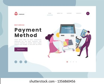 Flat Vector Illustration idea payment concept for landing page template, woman push trolley bring shop bag, man with credit card withdrawal from ATM, financial transactions,Pos-terminal, coin, wallet.