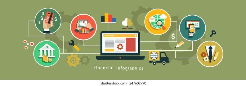 Flat vector illustration infographics background Finance and Banking. Business concept. Set icons