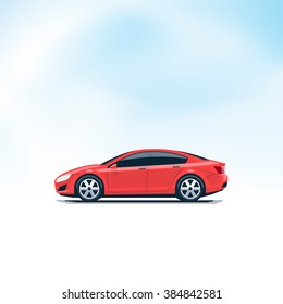 Flat vector illustration of an isolated vector red car side view in cartoon style. Decent sky in the background.