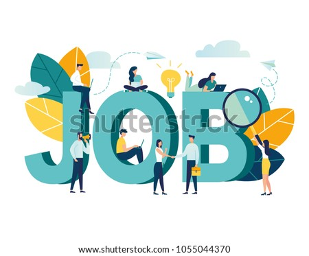 Flat vector illustration, job search, recruitment, workgroup, freelance, web graphic design