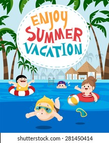 Flat vector illustration of kids swimming in a resort for summer vacation. Palm tree on the edge of the frame and letters of Enjoy summer vacation centered.  Resort facilities on the background
