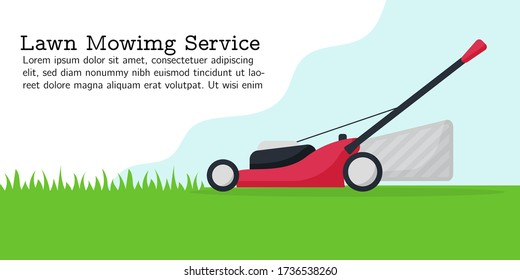 Flat vector illustration of lawn mowing service. Modern lawnmower cutting green grass. Banner for landing page, web, app. Concept of gardening service