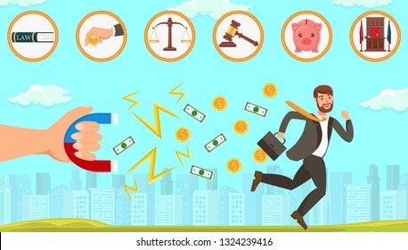 Flat Vector Illustration Legal Assistance in Dealing with Debtors. Hand Holds Magnet and Attracts Paper Bills and Coins with Dollar Symbol. Man with Briefcase Tries to Escape from Problem Solving.