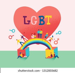 Flat vector illustration of Lgbt couple run on rainbow and big heart on background. Happy valentines day for bisexual community.  Concept of freedom in love. lesbian and gay family.