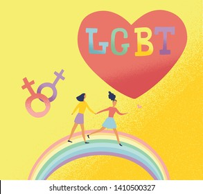 Flat vector illustration of Lgbt couple run on rainbow and big heart on background. Happy valentines day for bisexual community.  Concept of freedom in love. lesbian family.