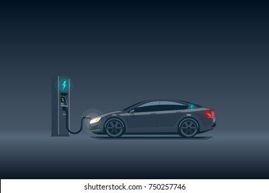 Flat vector illustration of a luxury black electric car charging at the charger station. Electromobility e-motion concept. Electromobility eco future transportation e-motion concept.