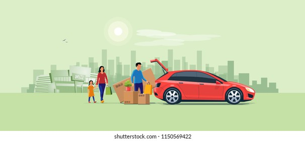 Flat vector illustration of a man with family coming from shopping and loading the car trunk with purchase carton boxes. Oversized big tv box doesn't fit. Shopping mall and city in the background.