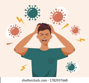 Flat vector illustration of a man with open mouth, clutches at head with both hands. Covid 19 causes headache, panic, depression. Stress, irritation from coronavirus, badmood