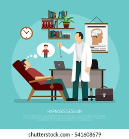 Flat vector illustration of medical room with patient relaxing in chair and psychologist performing hypnosis session