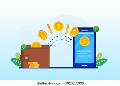 Flat vector illustration money transfer, landing page website illustration vector template