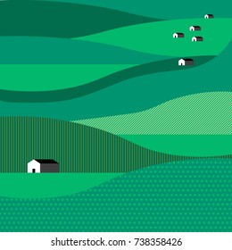 Flat vector illustration with mountains, with hills, houses, cottages on green background. Color image. Icon with elements of nature. Beautiful geometric illustration. Landscape night composition.