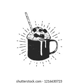 Flat vector illustration - Mug with hot drink. Winter dessert beverage. Cup of hot chocolate with marshmallows