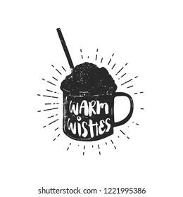 Flat vector illustration - Mug with hot drink. Winter dessert be