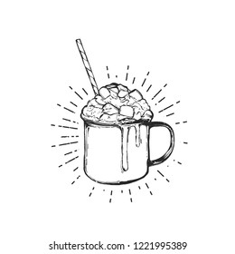 Flat vector illustration - Mug with hot drink. Winter dessert be