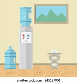 Flat vector illustration of office interior. Gray water cooler with replacement bottle and paper trash can near the wall with a picture. Colored flat vector illustration for office.