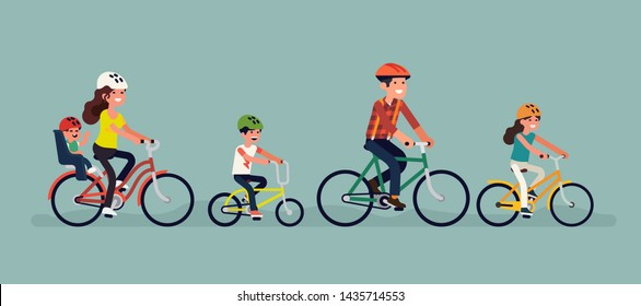 Flat vector illustration on father, siblings, mother with toddler riding bicycles. Family sport and recreation concept design