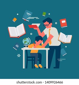 Flat vector illustration on teacher leans over student to help him in learning process. School and education themed concept illustration with tutor and schoolboy characters and books around them