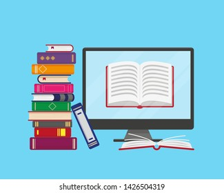 Flat vector illustration of online reading, learning or education concept. Stack of books and computer screen with open book on blue background.