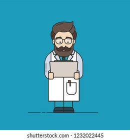 Flat Vector Illustration in Outline Style of a Male Doctor with a Beard, Who is Checking Medical Test Results