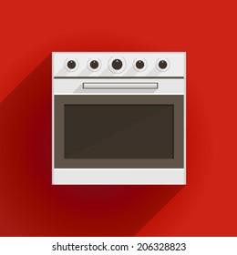Flat vector illustration of oven. White oven with gray door. Flat vector illustration on red background.