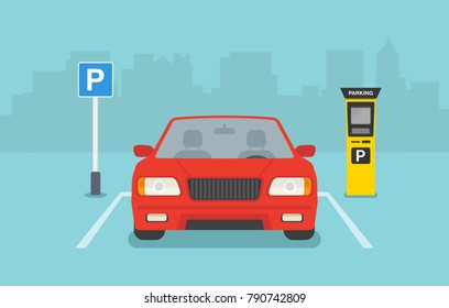 Flat vector illustration of Parking zone with payment system. Red car front view.