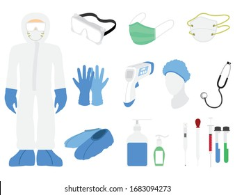 flat vector illustration of personal protective equipment in the hospital to face covid 19 the pandemic and other illnesses around the world to prevent covid-19 corona virus concept