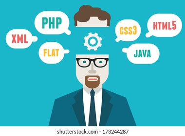 Flat vector illustration of programmer and process coding and programming. Workflow and planning - vector illustration