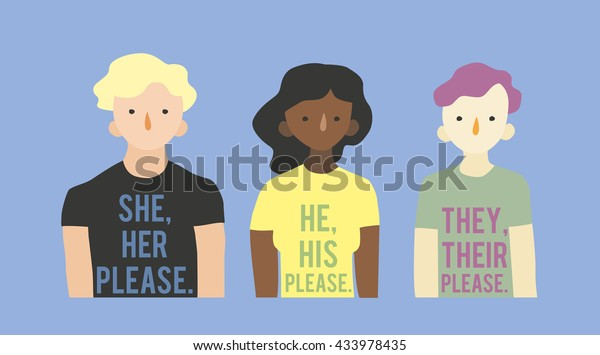 Flat vector illustration Pronouns. Three transgender persons in T-shirts with information about their pronouns.