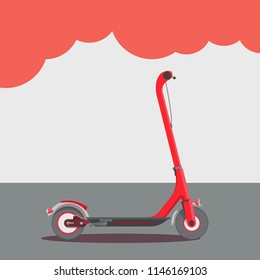 Flat vector illustration with red electric scooter on gray background.