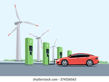 Flat vector illustration of a red electric car charging at the charger station in front of the windmills. Electromobility e-motion concept.