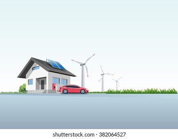 Flat vector illustration of a red electric car charging at the wall charging station placed on a house with solar panels. Wind turbines are in the background.