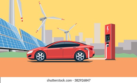 Flat vector illustration of a red electric car charging at the charger station in front of the solar panels and wind turbines. City skyline in the background. Warm retro feeling.