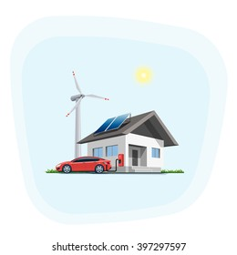 Flat vector illustration of a red electric car charging at the wall charging station placed on a house with solar panels. Wind turbines are in the background. Home charging e-motion concept.