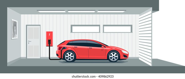 Flat vector illustration of a red electric car charging on the charger station point inside home garage. Integrated smart domestic electromobility e-motion concept.