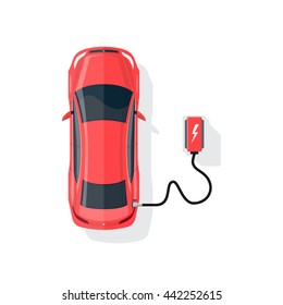Flat vector illustration of a red electric car charging at the charger station in cartoon style. Electromobility eco e-motion concept. Top view of an electric vehicle charging on white background.