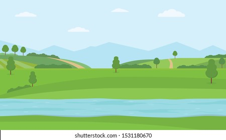 Flat vector illustration with river, green hills and mountains. Rural summer landscape.