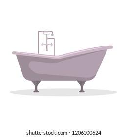 Flat vector illustration. Roll-top bath. An isolated figure.