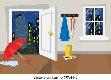 Flat vector illustration in room interior design. Rainy night city view. Rain drops on night sky in monsoon season. Wet boots and red umbrella after the rain. Water to overflow on the floor.