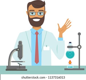 flat vector illustration of scientist working at science lab