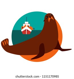 Flat vector illustration of seal watching. Ecotourism site icon.