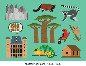 Flat vector illustration set of Madagascar consisting of landmark attractions and cultures