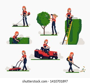 Flat vector illustration set on female garden worker using various special equipment while working on pruning and trimming trees and shrubbery, blowing leaves, trimming and cutting grass